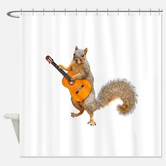 Squirrel Acoustic Guitar Shower Curtain