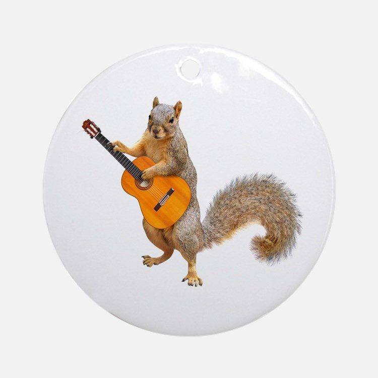 Squirrel Acoustic Guitar Round Ornament