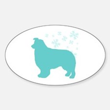 Border Collie Snowflake Oval Decal