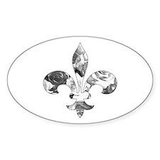 Floral Fleur de lis (1) Oval Decal