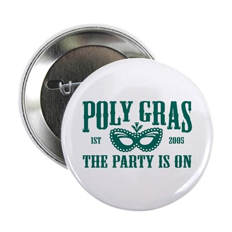 Poly Gras in Green Pin Button