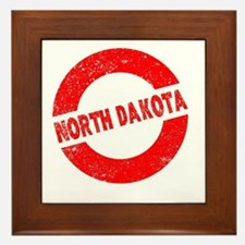 Rubber Ink Stamp North Dakota Framed Tile
