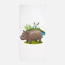 Animal cartoon hippopotamus Beach Towel