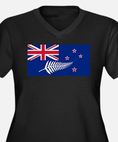 New Zealand Flag With Silver Fer Plus Size T-Shirt