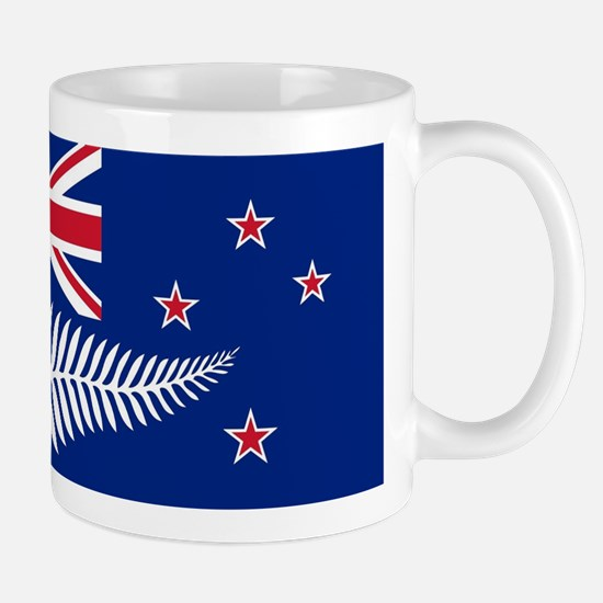 New Zealand Flag With Silver Fern Mugs