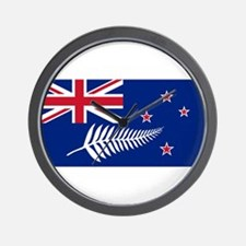 New Zealand Flag With Silver Fern Wall Clock