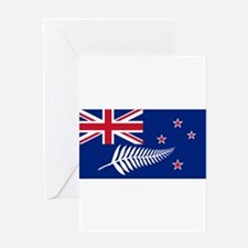New Zealand Flag With Silver Fern Greeting Cards