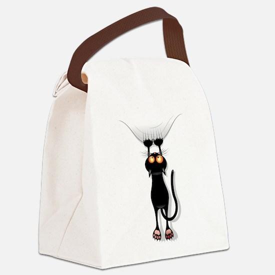 Amusing hanging black cat Canvas Lunch Bag