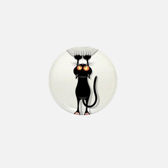 Amusing hanging black cat Mini Button