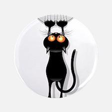 Amusing hanging black cat Button