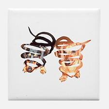 Peeling Dachshund Dogs Tile Coaster