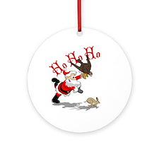 Hunting Santa Ornament (Round)