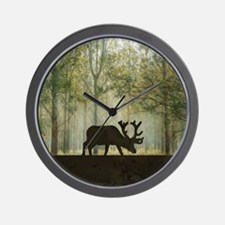 Moose in Forest Illustration Wall Clock