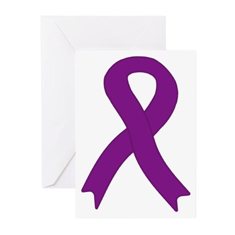 Purple Ribbon Greeting Cards (Pk of 10)