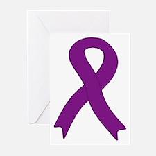 Purple Ribbon Greeting Cards (Pk of 10)