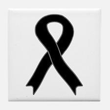 Black Ribbon Tile Coaster