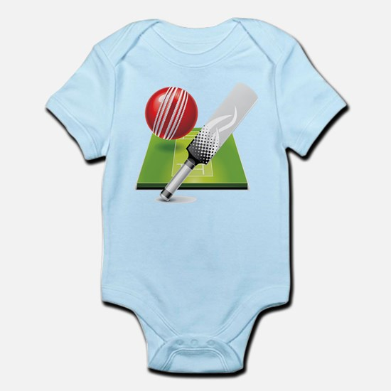 Cricket pitch bat ball Body Suit
