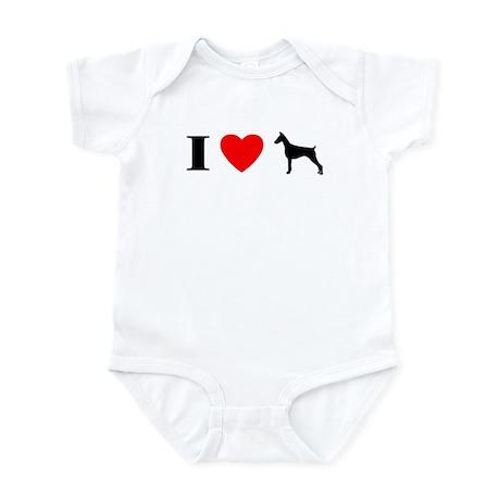 I Heart Doberman Pinscher Baby Bodysuit