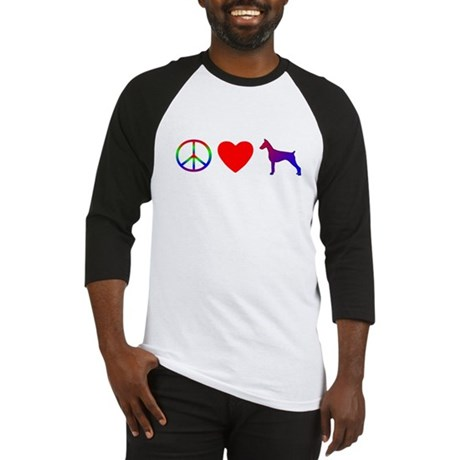 Peace Love Doberman Pinscher Baseball Jersey