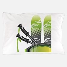 Skiing skies goggles and sticks Pillow Case