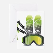 Skiing skies goggles and sticks Greeting Cards