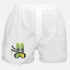 Skiing skies goggles and sticks Boxer Shorts