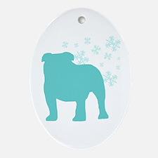 Bulldog Snowflake Oval Ornament