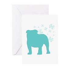 Bulldog Snowflake Greeting Cards (Pk of 20)