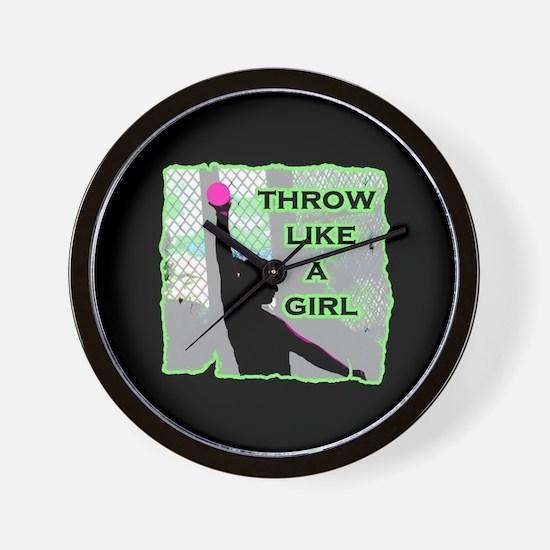 Throw like a girl shotput Wall Clock