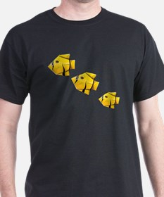 Yellow fishes paper art origami T-Shirt