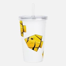 Yellow fishes paper ar Acrylic Double-wall Tumbler