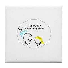 Save Water Tile Coaster