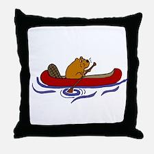 Beaver Canoeing Throw Pillow