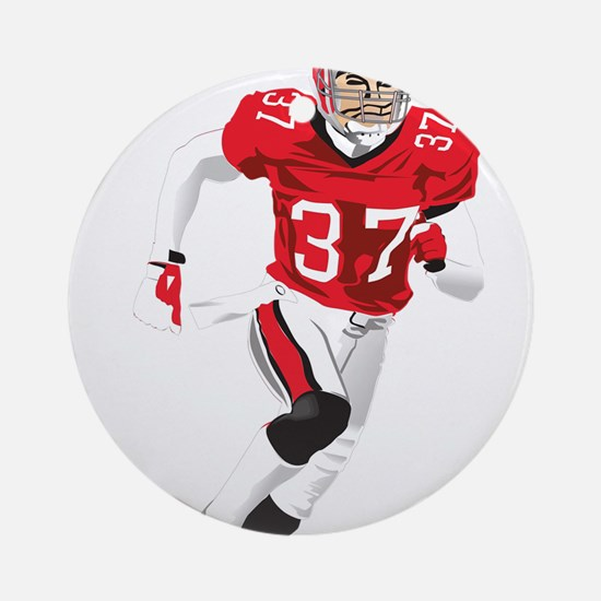 American football player play Round Ornament