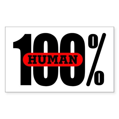 100 Percent Human Rectangle Sticker