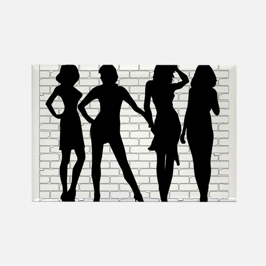 Hooker Silhouettes Magnets