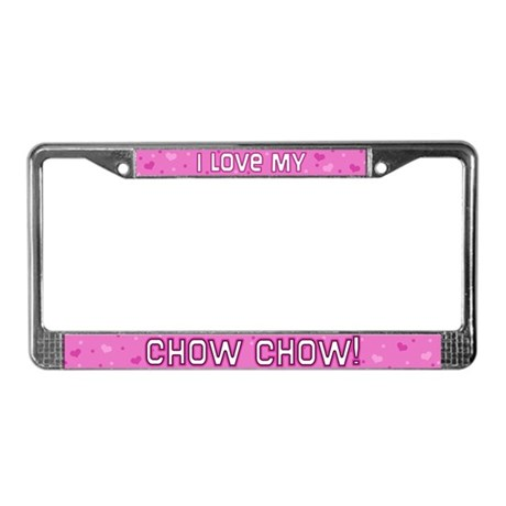 Pink Polka Dot Chow Chow License Plate Frame