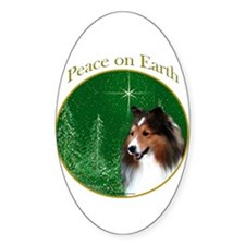 Sable Sheltie Peace Oval Decal
