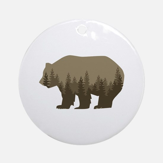 Grizzly Trees Round Ornament