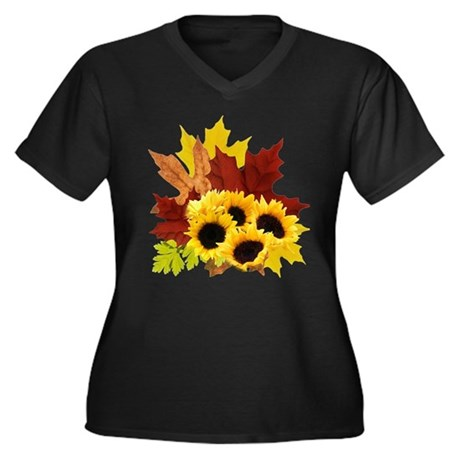Fall Bouquet Women's Plus Size V-Neck Dark T-Shirt