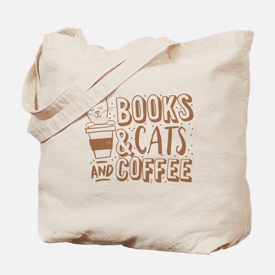 Books and cats and coffee Tote Bag