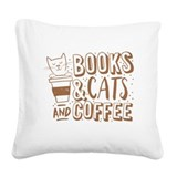 Cats and coffee Square Canvas Pillows