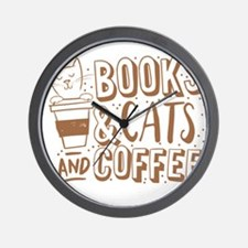 Books and cats and coffee Wall Clock