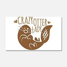 Crazy Otter Lady Car Magnet 20 x 12
