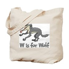 W is for Wolf Tote Bag