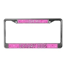 Pink Polka Dot Canary Dog License Plate Frame