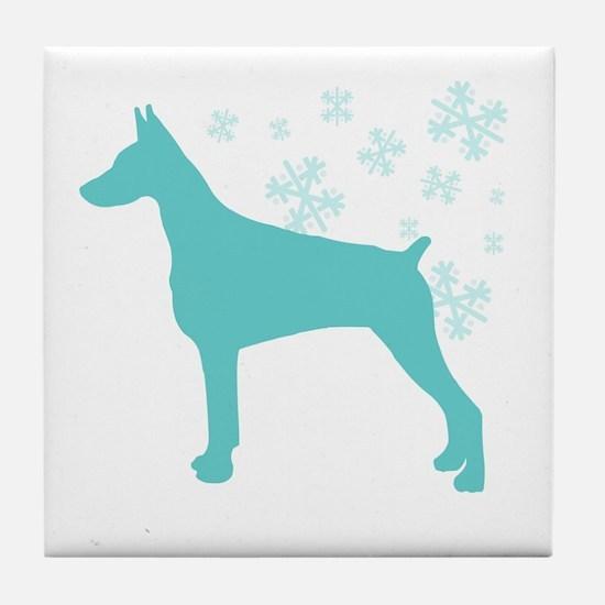 Doberman Pinscher Snowflake Tile Coaster