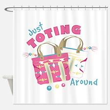 Toting Around Shower Curtain
