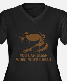 coffee sleep Women's Plus Size V-Neck Dark T-Shirt