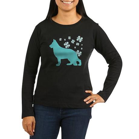 German Shepherd Snowflake Women's Long Sleeve Dark